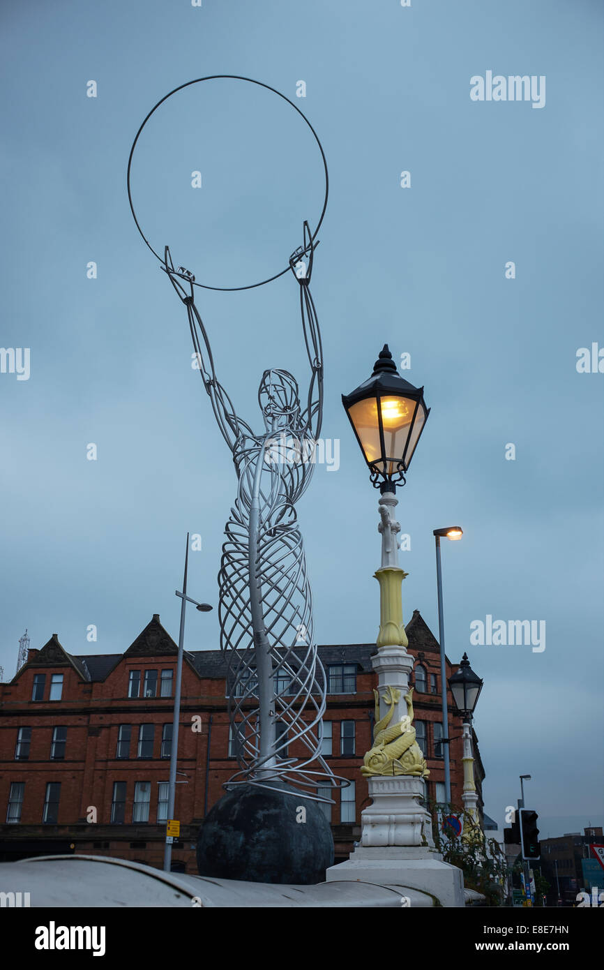 Beacon of Hope sculpture by Andy Scott at Thanksgiving Square Belfast city centre - Stock Image