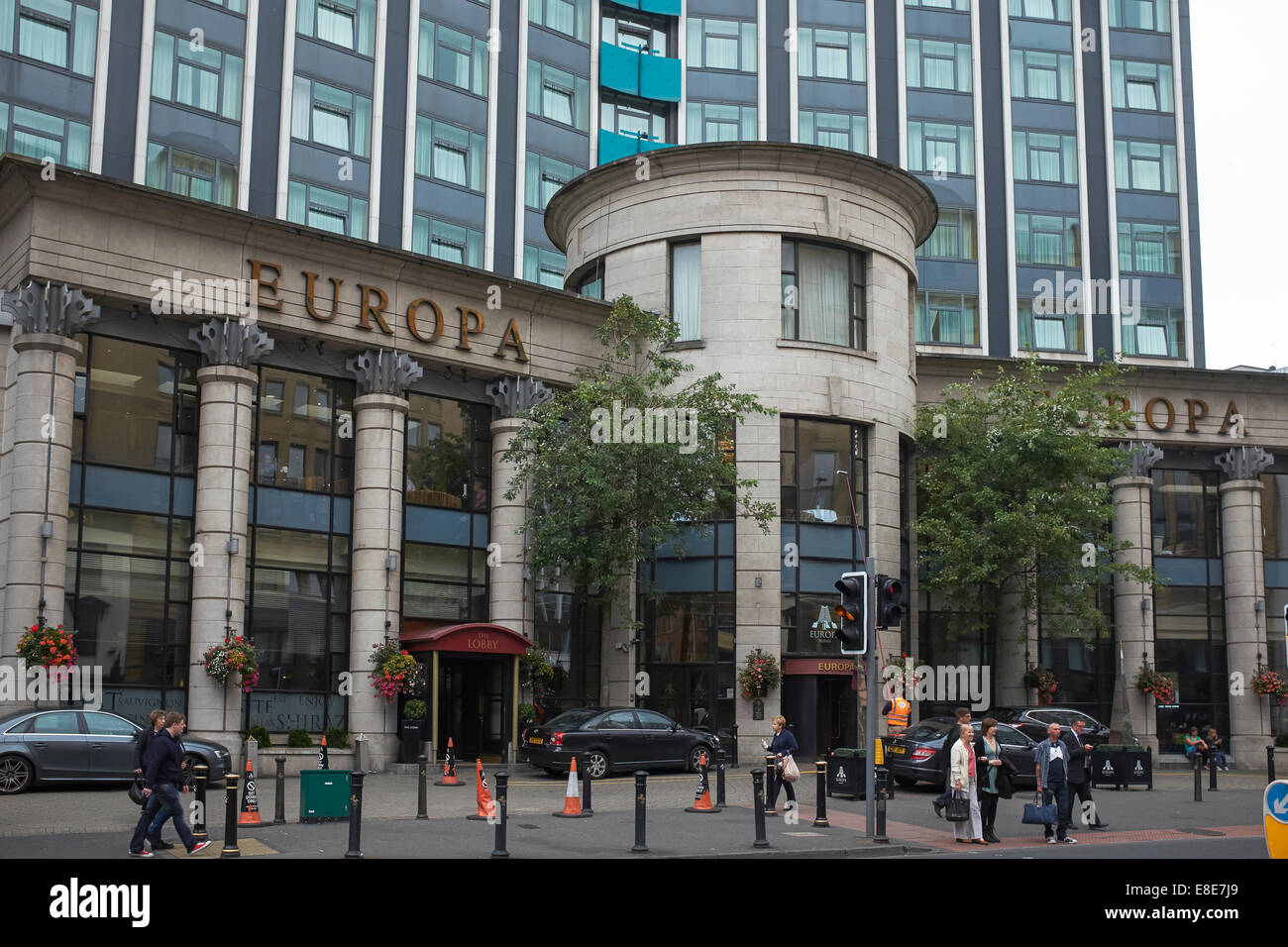 Entrance to the Europa Hotel in Belfast city centre - Stock Image
