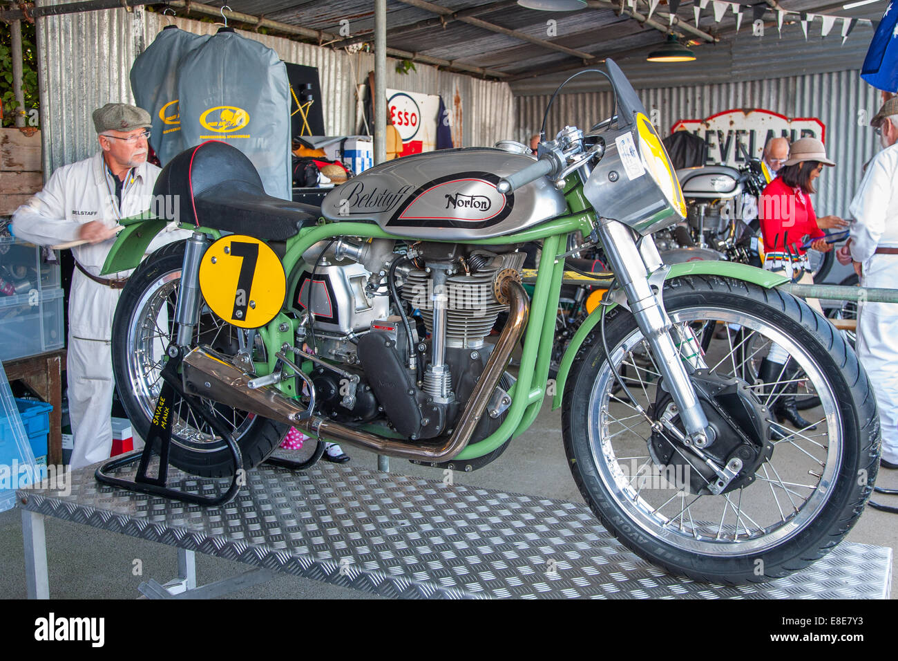 1952 Norton Manx motorbike at the Goodwood Revival 2014, West Sussex, UK - Stock Image