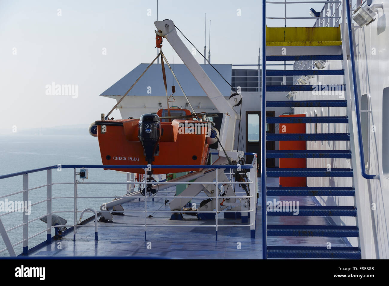 Rescue boat on the deck of the Stena Mersey Irish Sea ferry - Stock Image