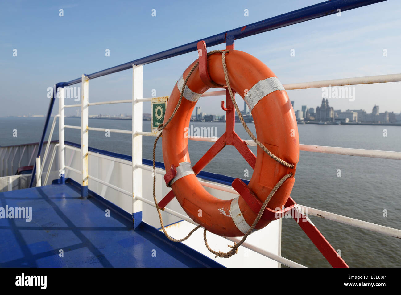 A life ring on the deck of a Stena Line Irish Sea ferry on the River Mersey - Stock Image