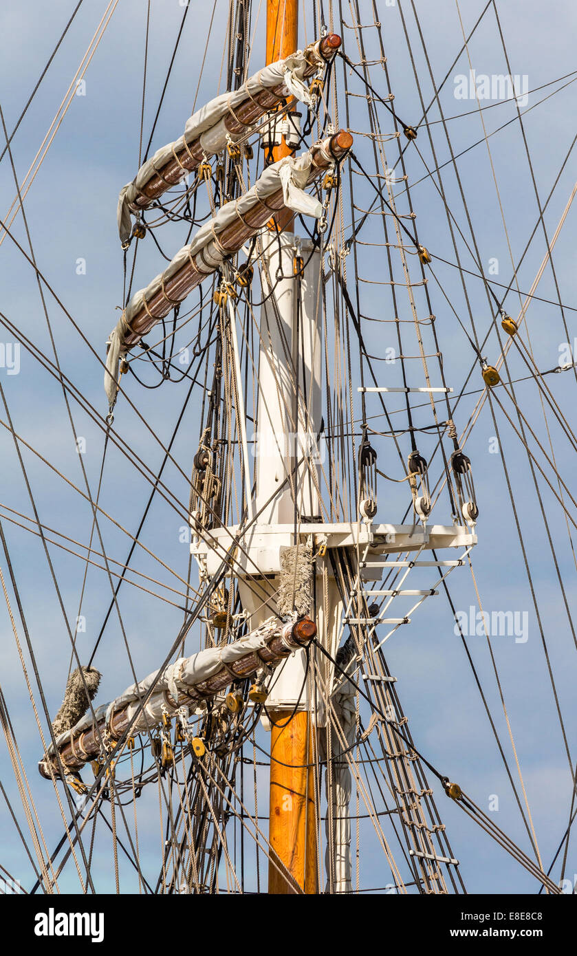 Mast and complex rigging of a training ship in Bristol's floating harbour UK - Stock Image