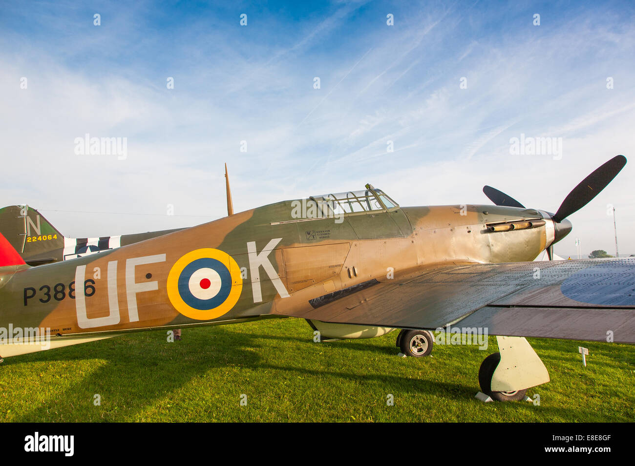 Hurricane MkI P3886 UF-K fighter plane at the Goodwood Revival 2014, West Sussex, UK - Stock Image