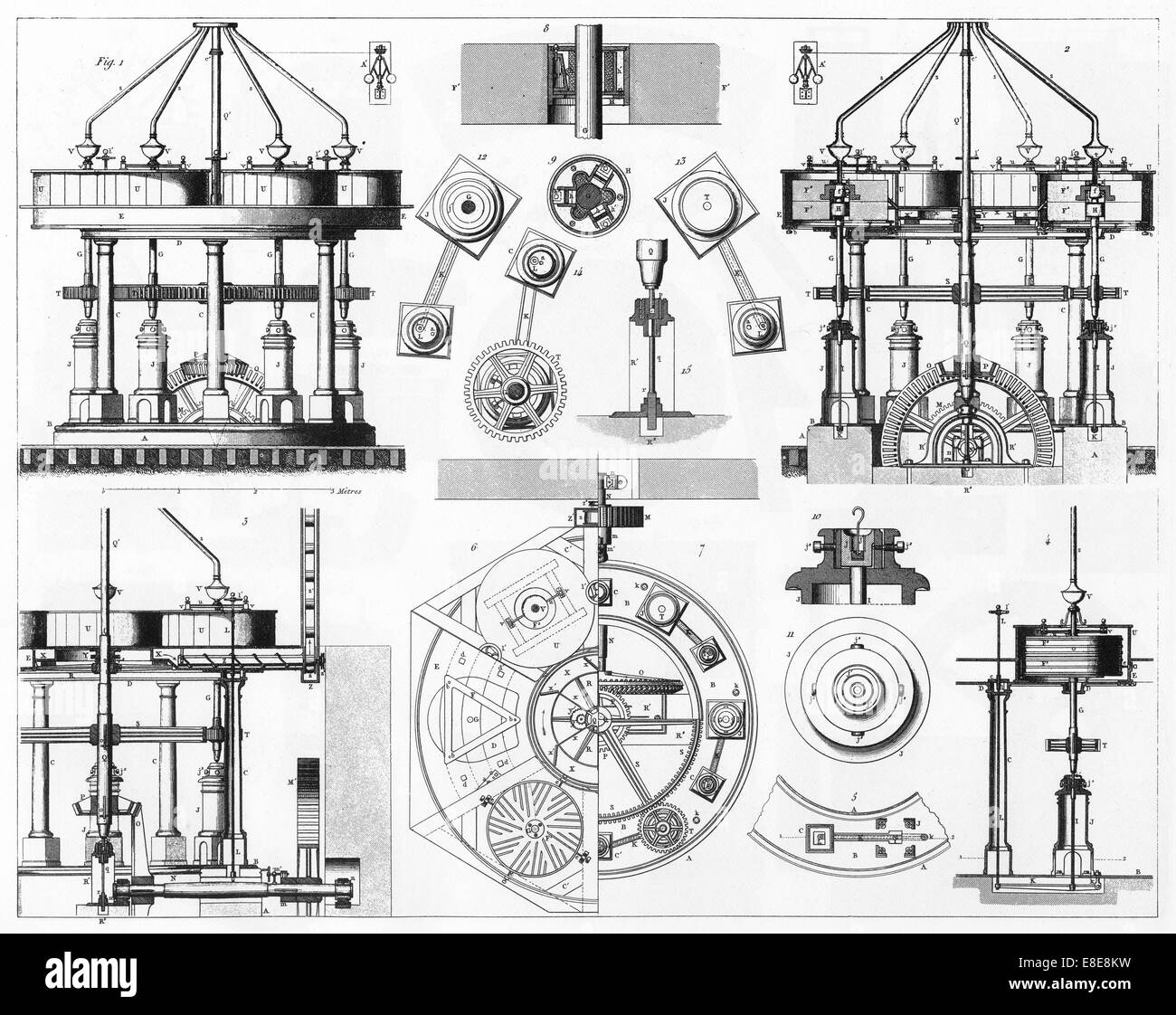 Diagram Illustration Old Steam Stock Photos Chassis Engineering Schematics Engraved Illustrations Of Grinding Mill Construction From Iconographic Encyclopedia Science Literature And Art