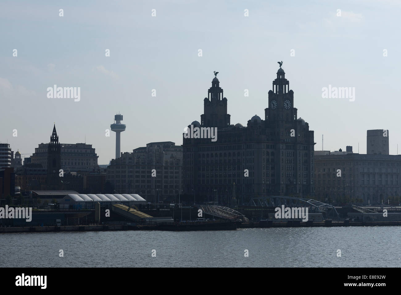 The Liver Building and Liverpool skyline in silhouette - Stock Image