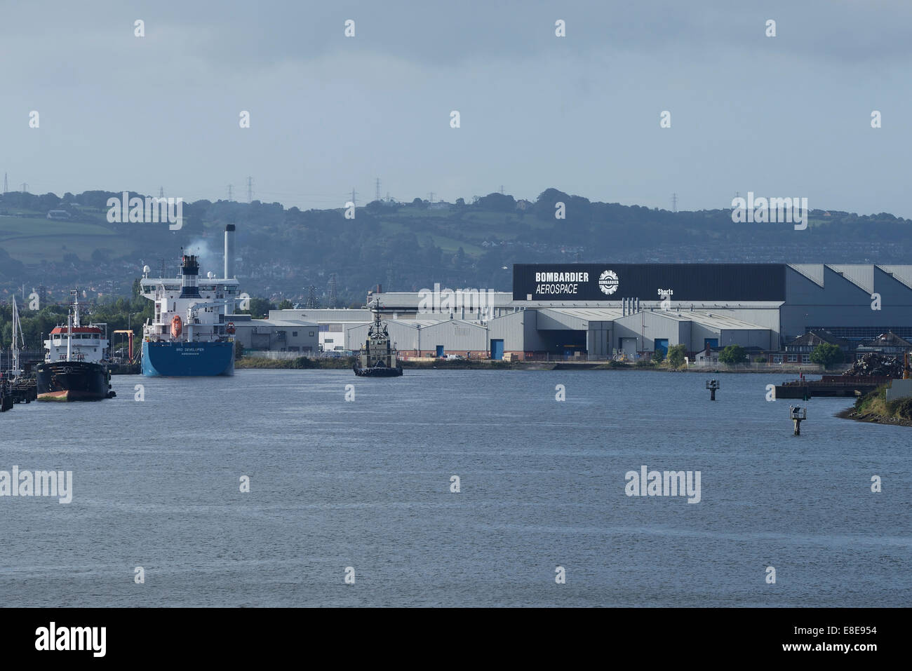 The Bombardier Aerospace factory at Belfast Harbour Northern Ireland UK - Stock Image
