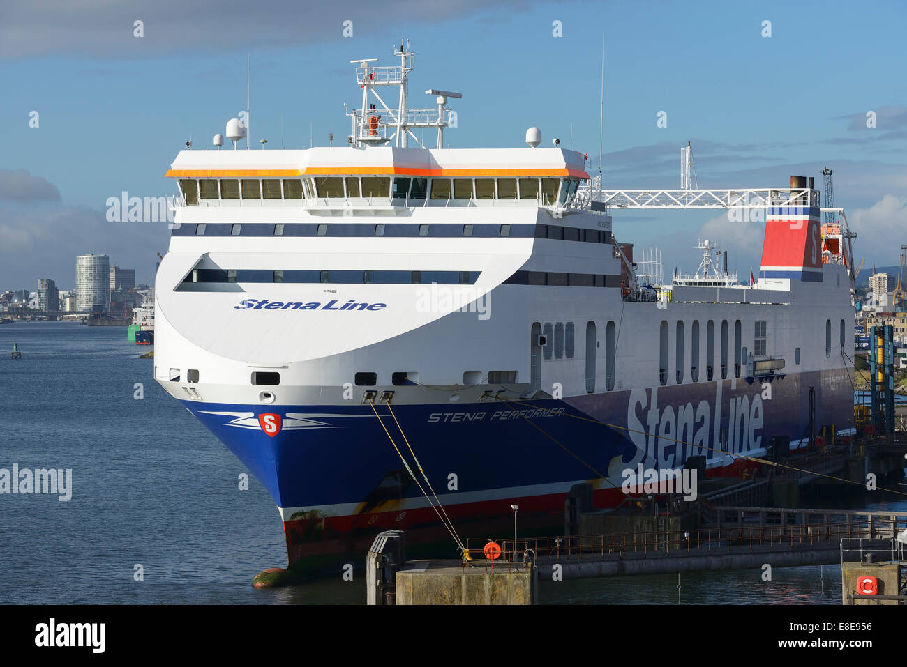 Stena Line Performer freight ferry at Belfast Docks UK - Stock Image