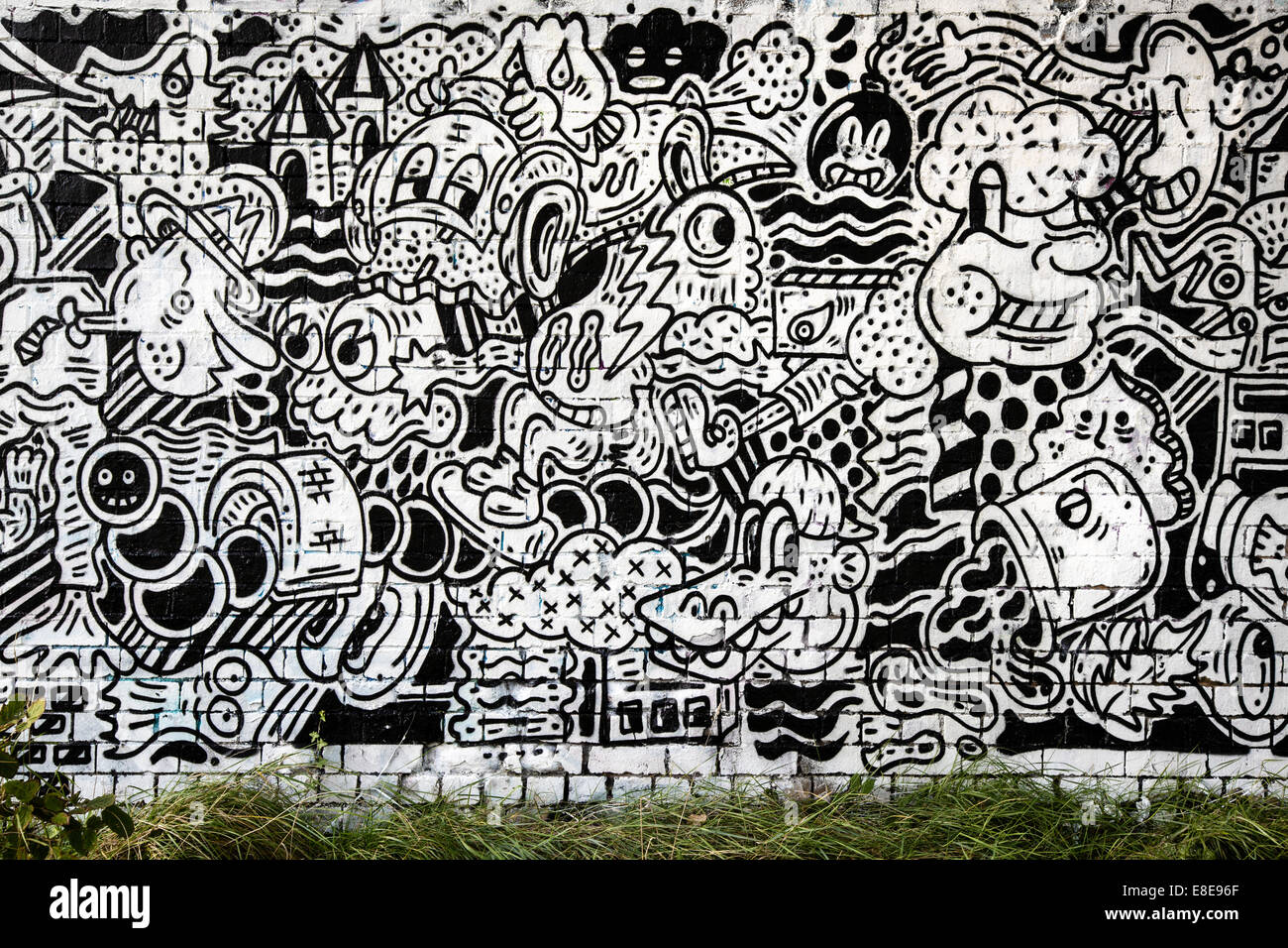 Giant Wall Murals Giant Black And White Comic Book Graffiti Mural Under A