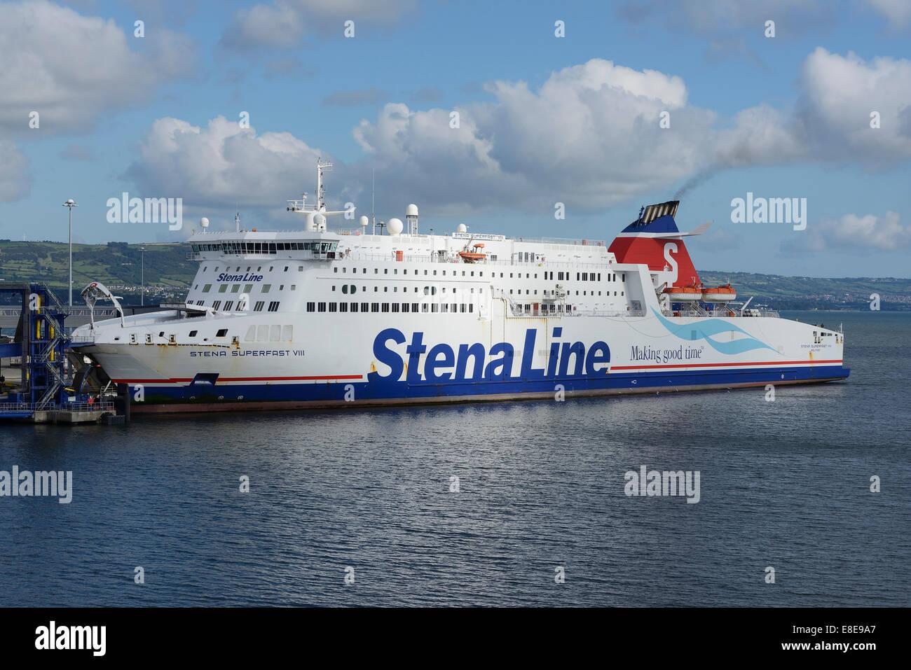 Stena Line Superfast VIII ferry at Belfast Docks UK - Stock Image
