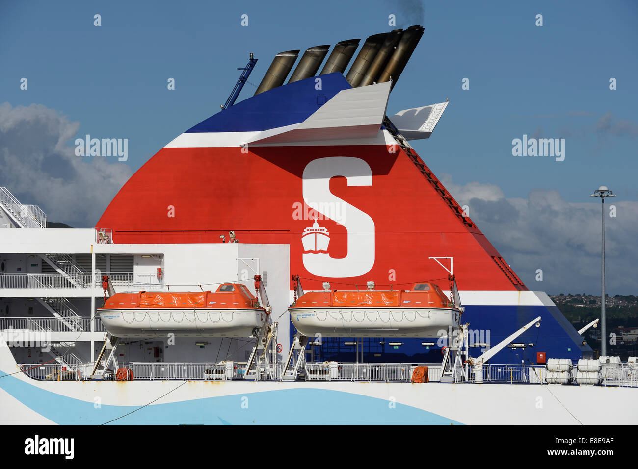 Stena Line S logo on the funnel of a ferry - Stock Image