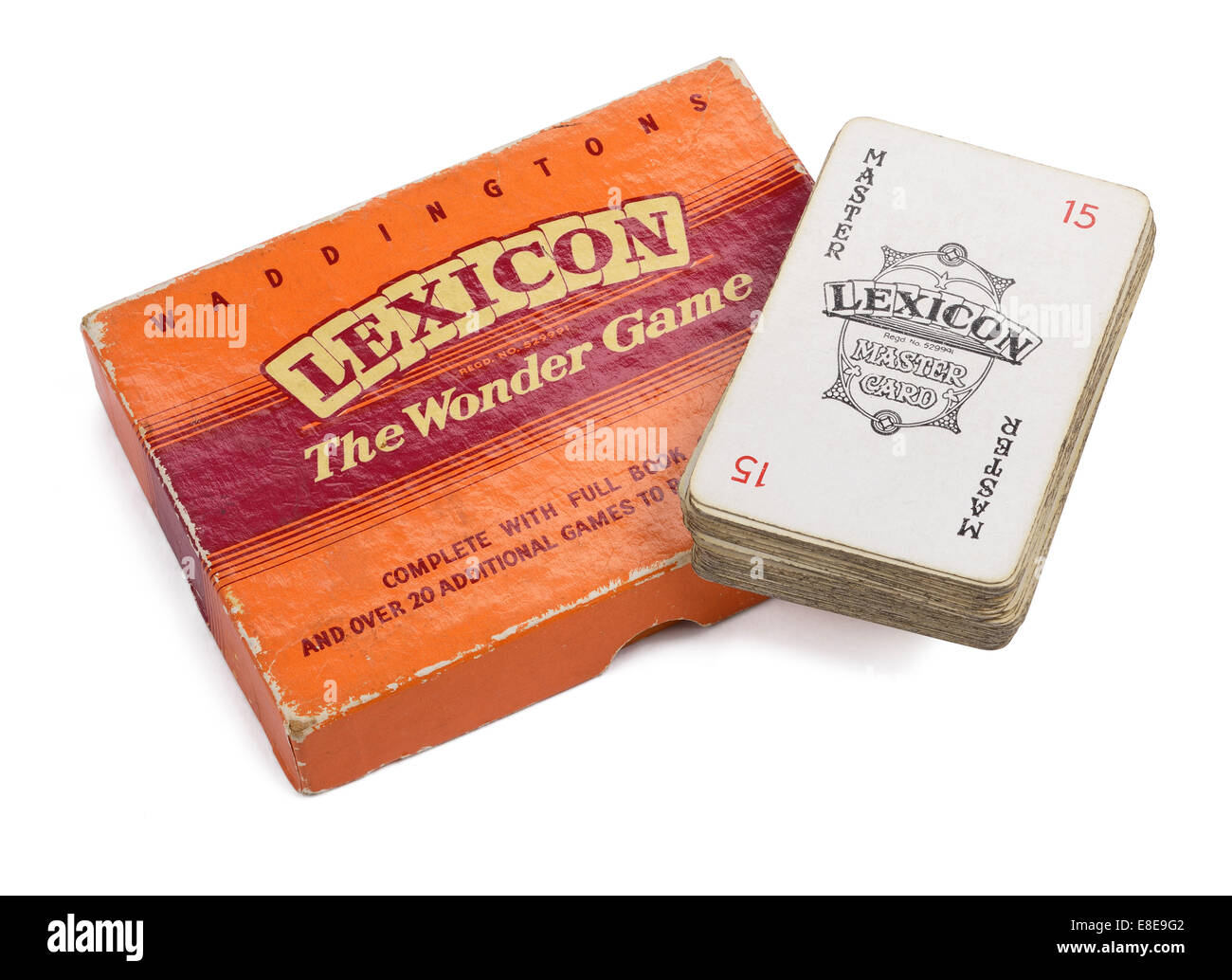 Vintage retro Lexicon card game box and cards - Stock Image