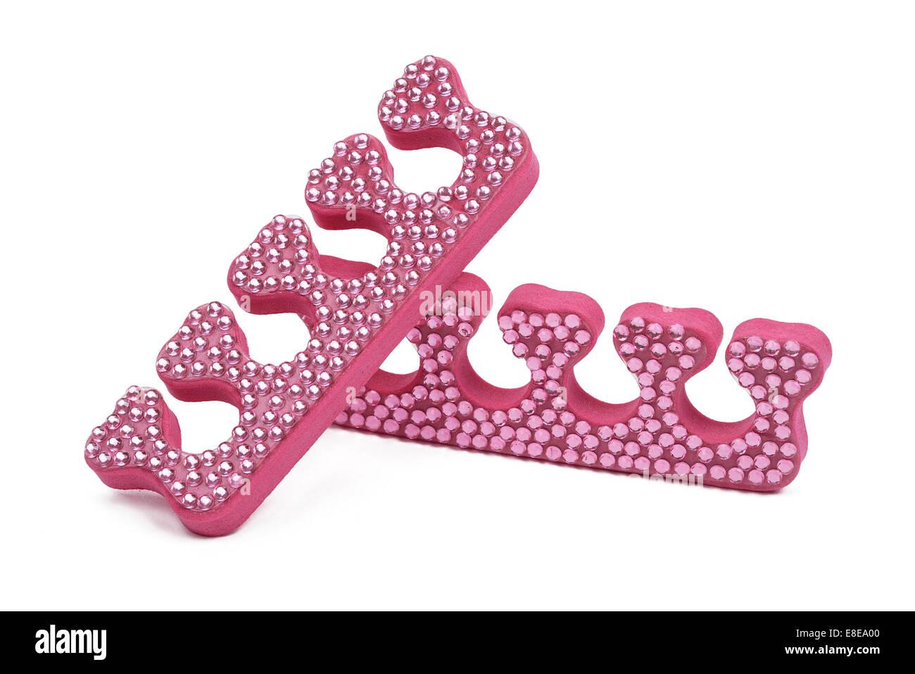 Pink foam diamante toe spacers - Stock Image