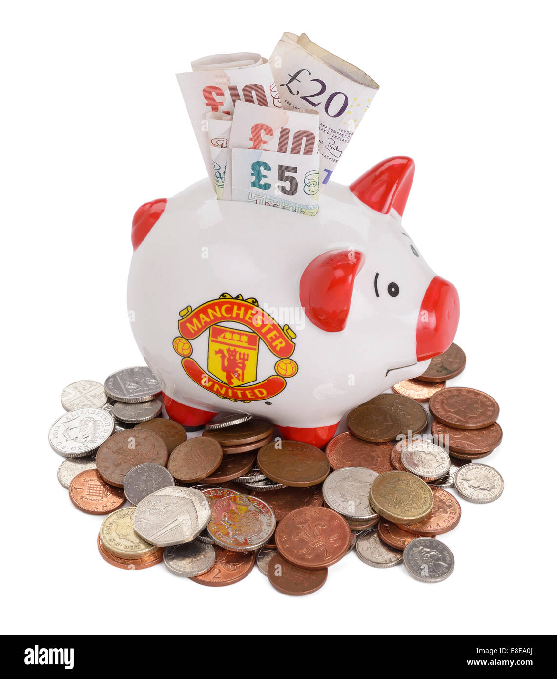 Manchester United Football Club piggy bank - Stock Image