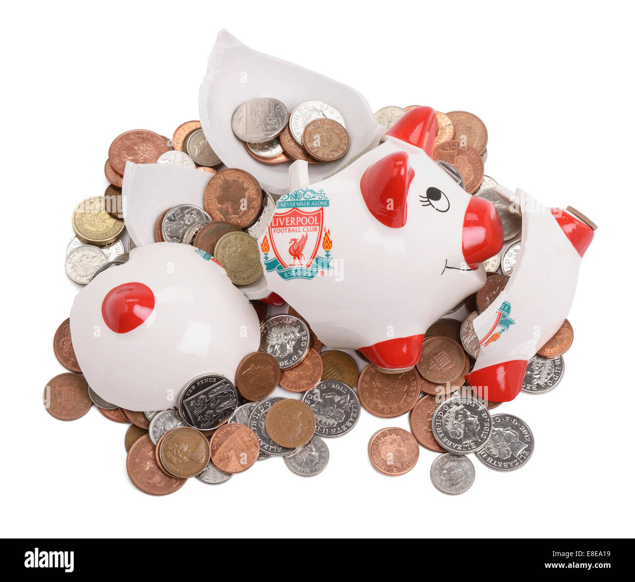 Smashed and broken Liverpool Football Club piggy bank - Stock Image