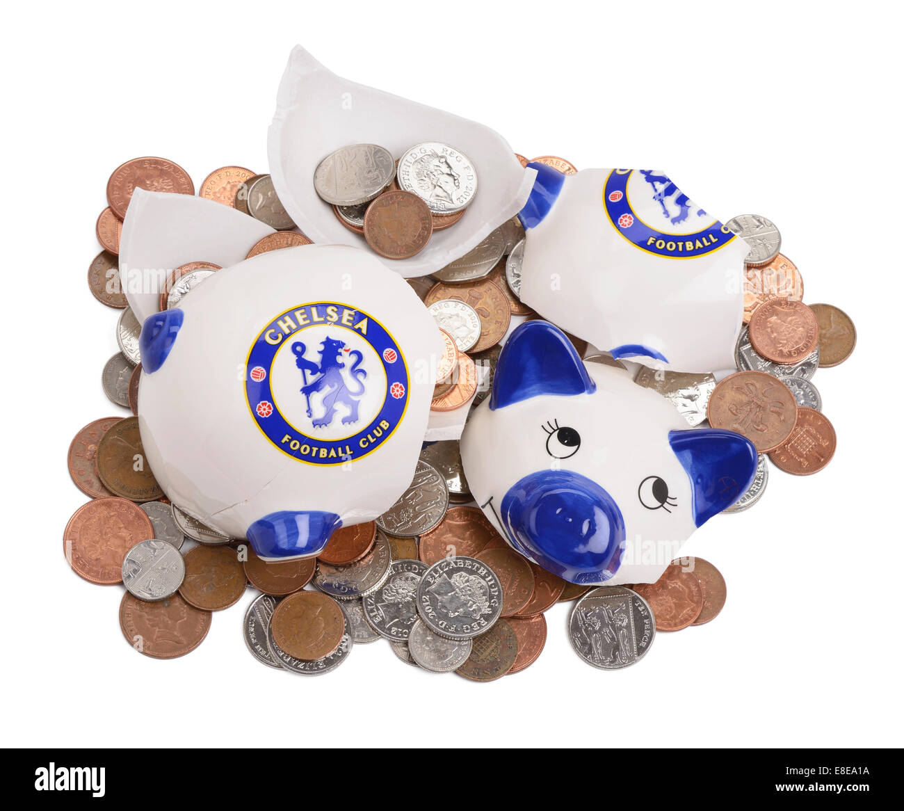 Smashed and broken Chelsea Football Club piggy bank - Stock Image
