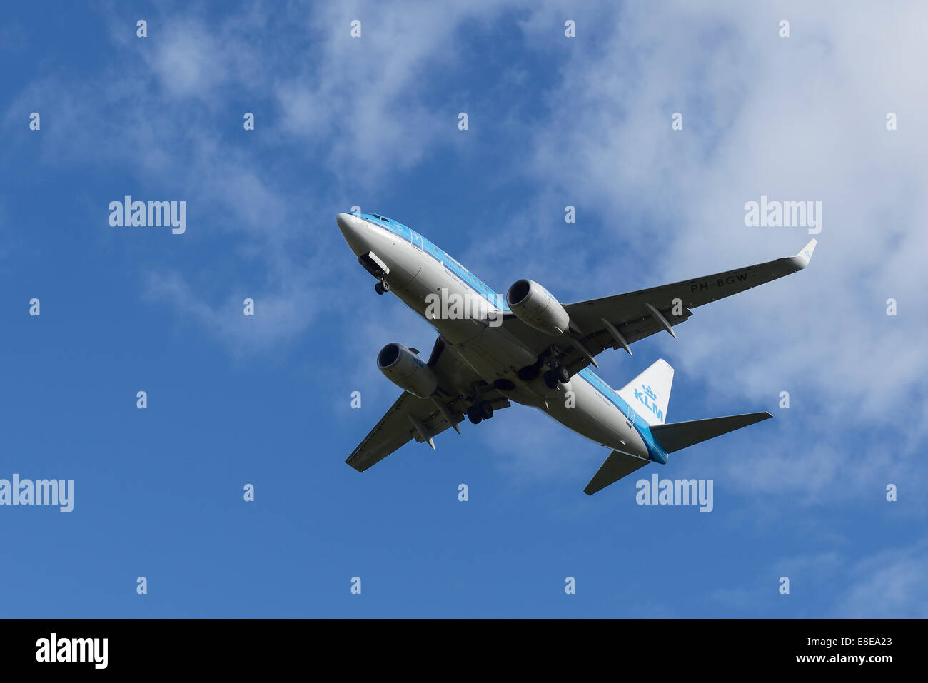 Royal Dutch Airlines KLM Boeing 737 aircraft on the final approach to Manchester Airport UK - Stock Image