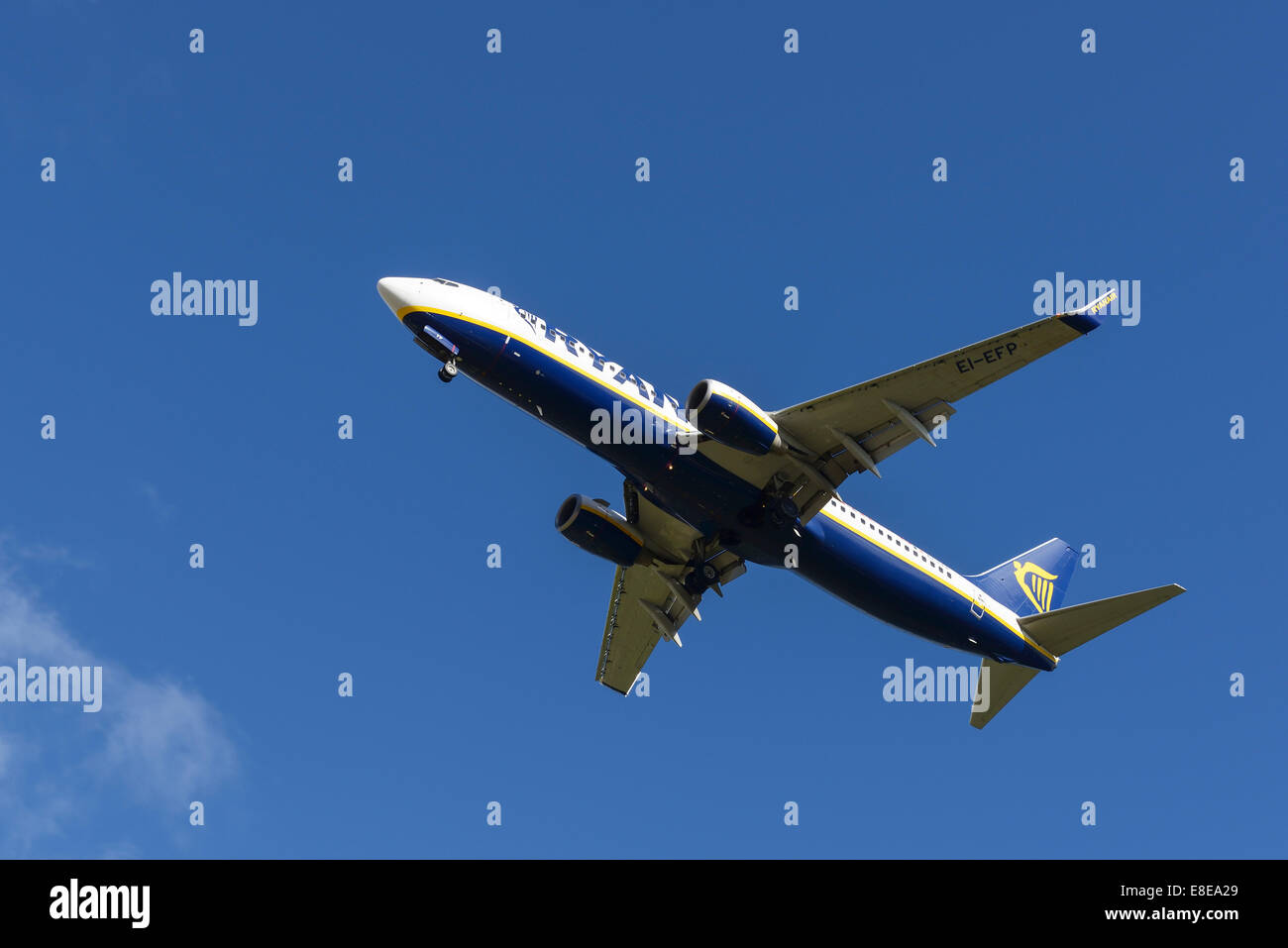 Ryanair Boeing 737 aircraft on the final approach to Manchester Airport UK - Stock Image