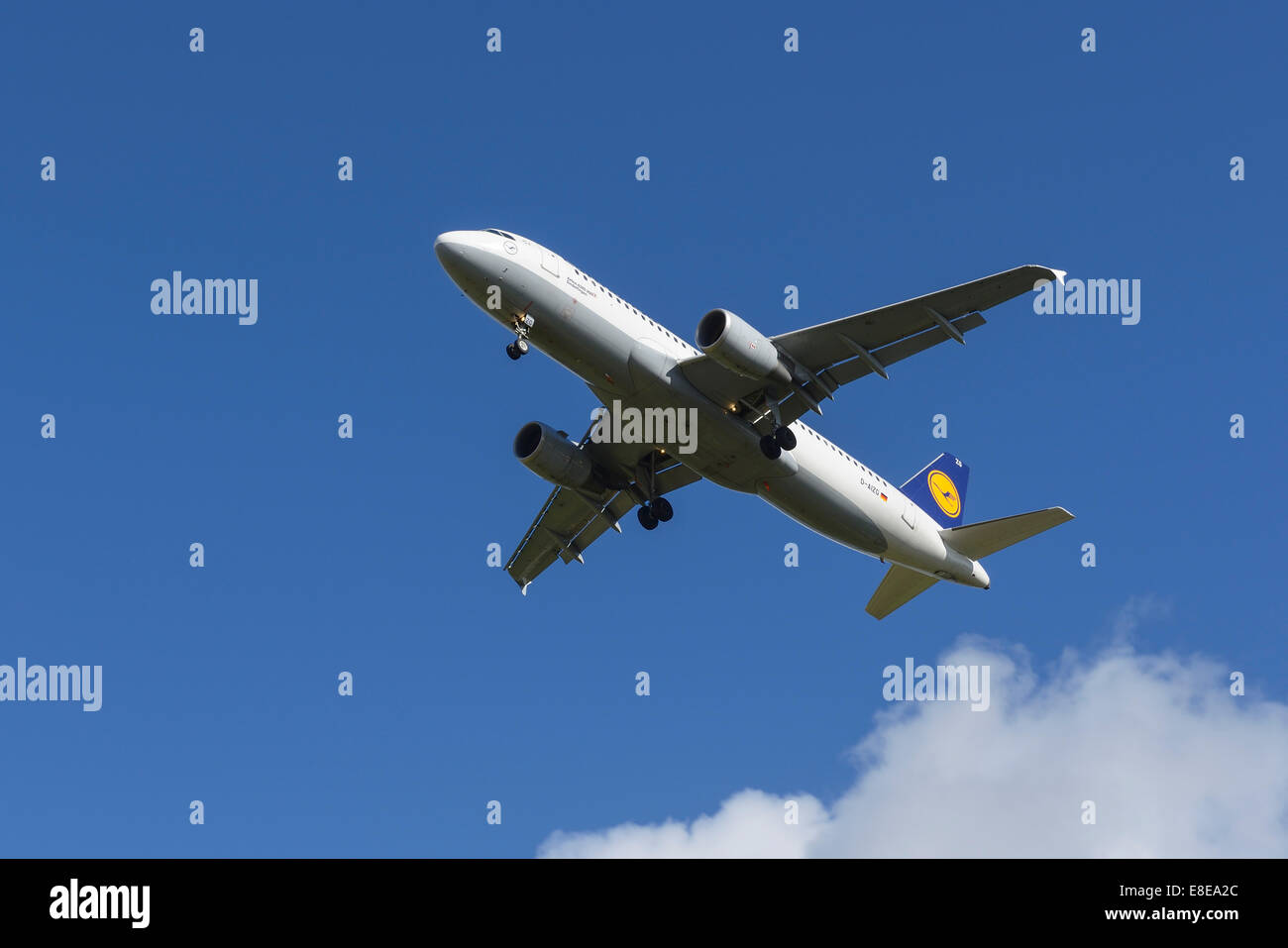 Lufthansa Airbus A320 aircraft on the final approach to Manchester Airport UK - Stock Image