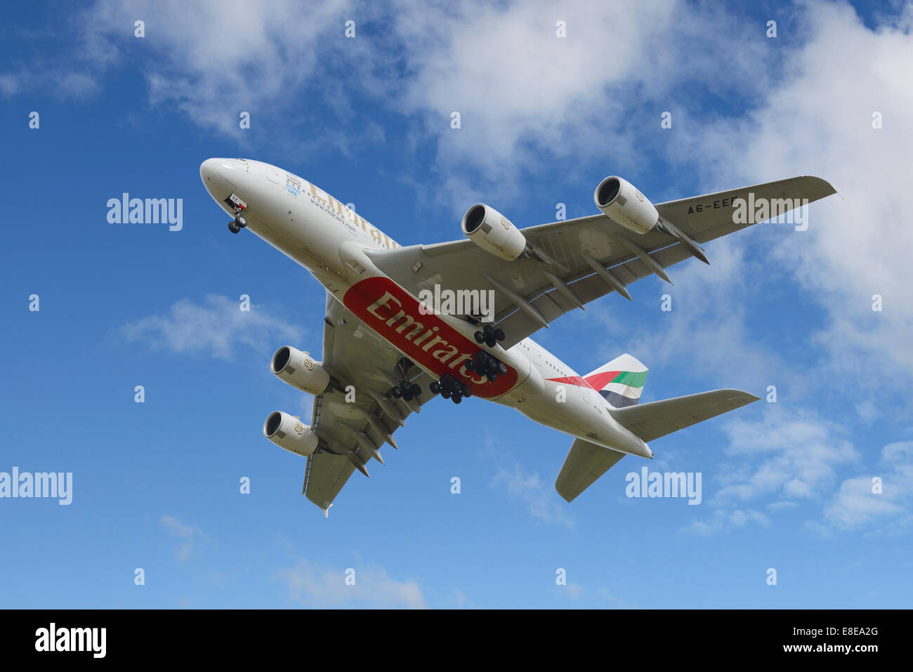 Emirates Airbus A380 aircraft on the final approach to Manchester Airport UK - Stock Image
