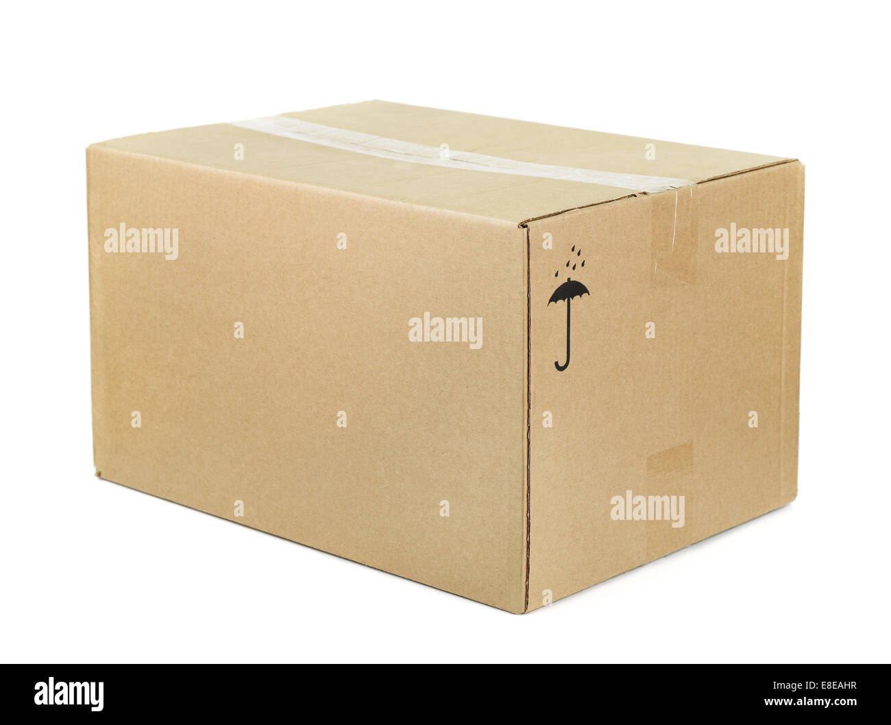 Closed cardboard box isolated on white - Stock Image