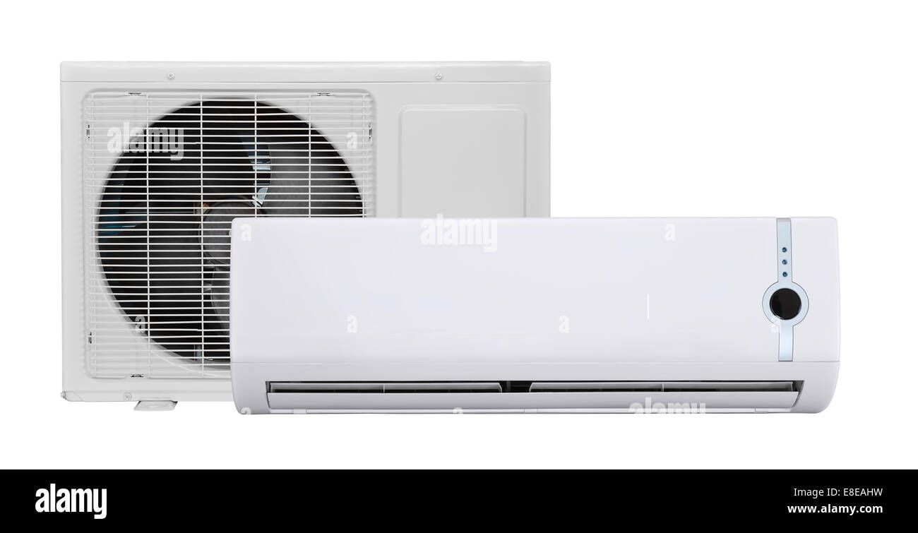 Air conditioner isolated on white - Stock Image