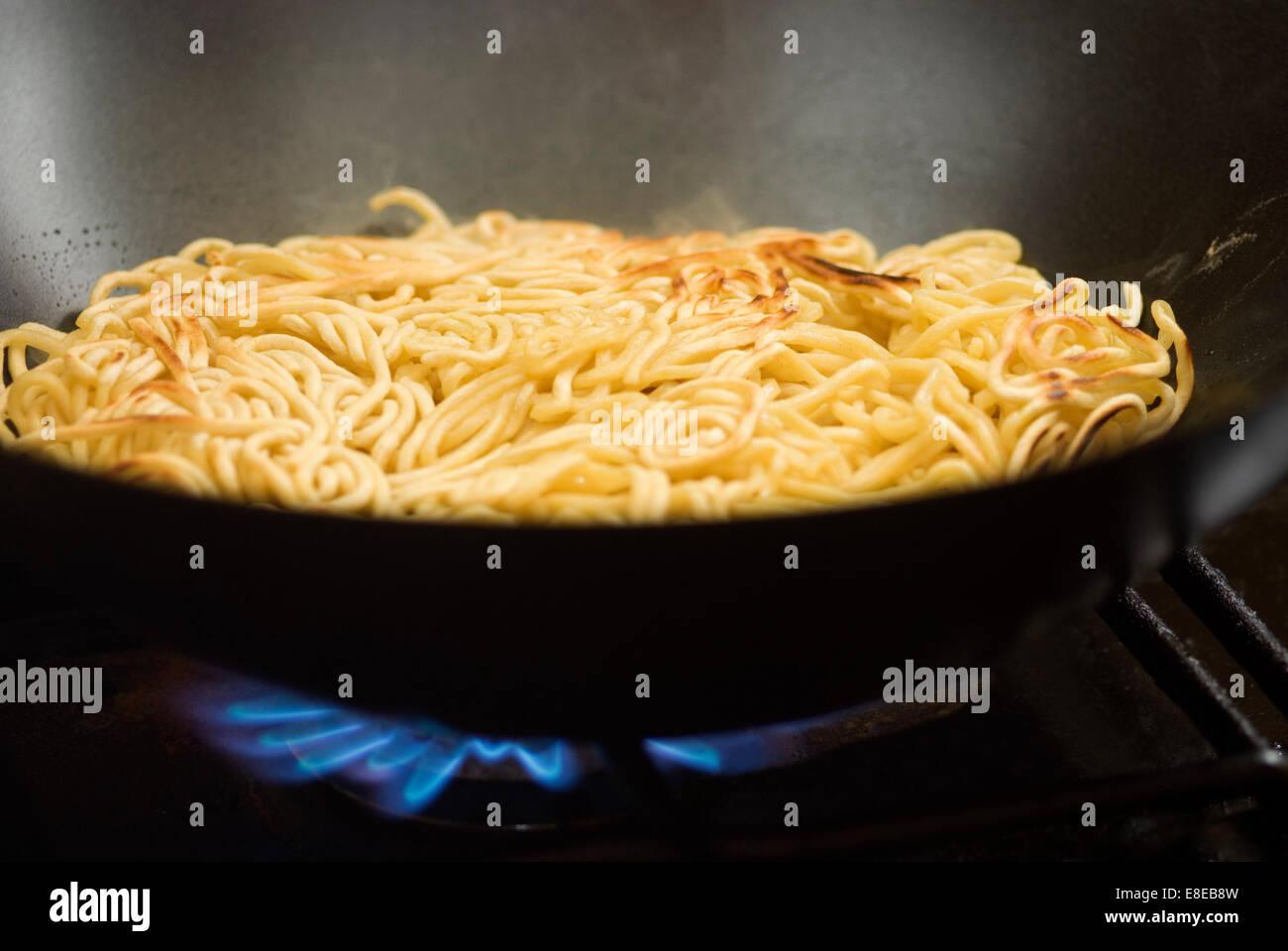 Fried Chicken Egg Noodles - Stock Image