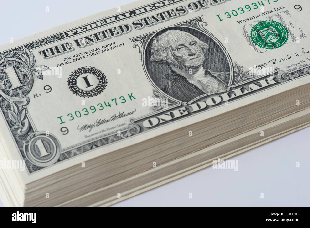 large stack of new one dollar bills - Stock Image