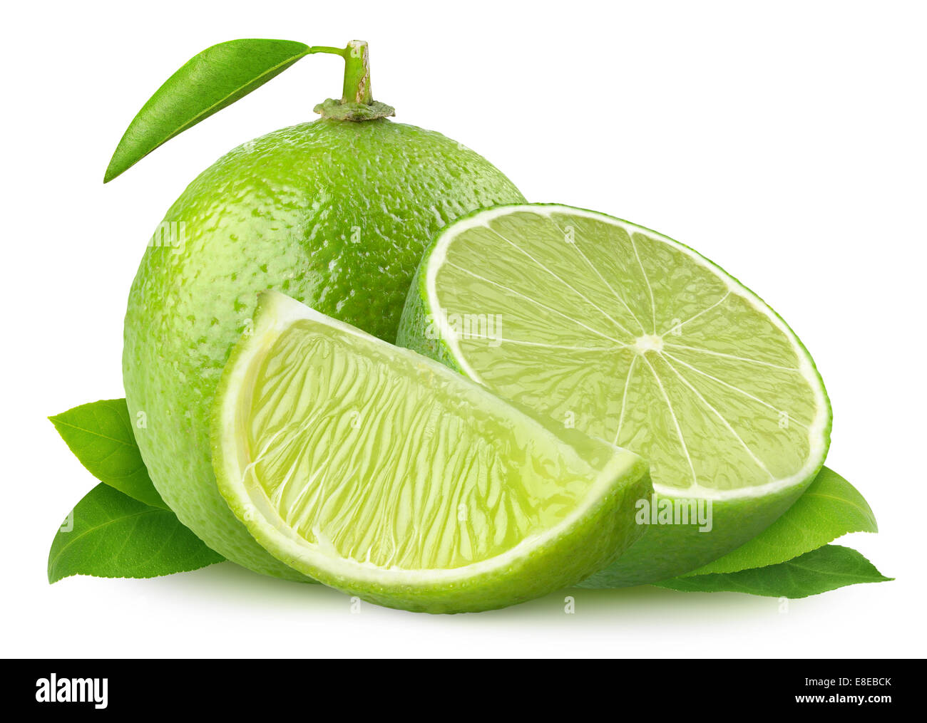 Fresh limes isolated on white - Stock Image