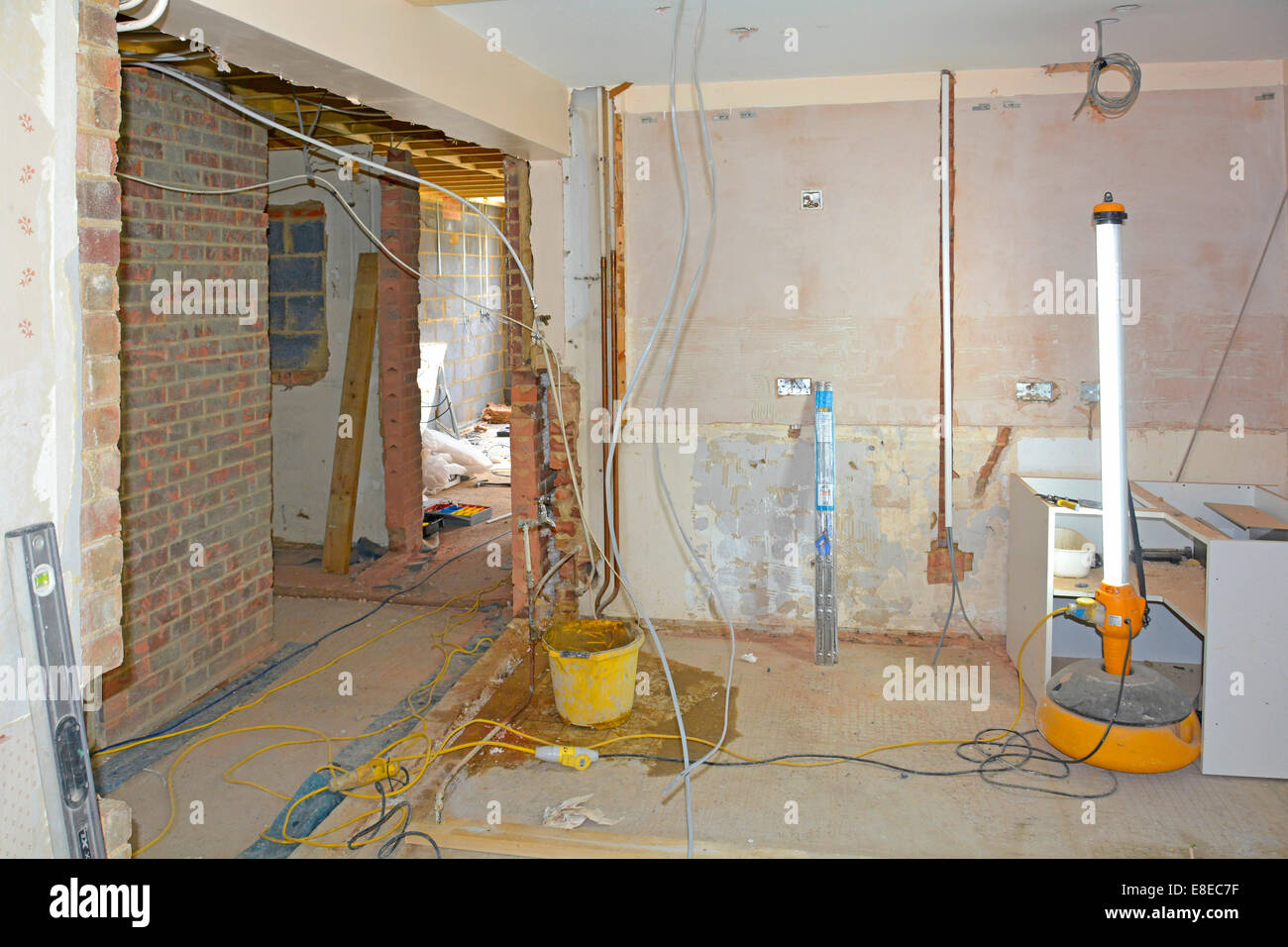 House extension detached property work in progress with interior alterations being made to existing rooms Essex - Stock Image