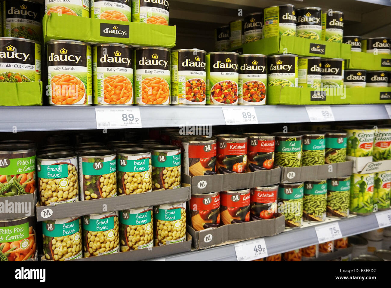 Tinned vegetables in a uk supermarket - Stock Image