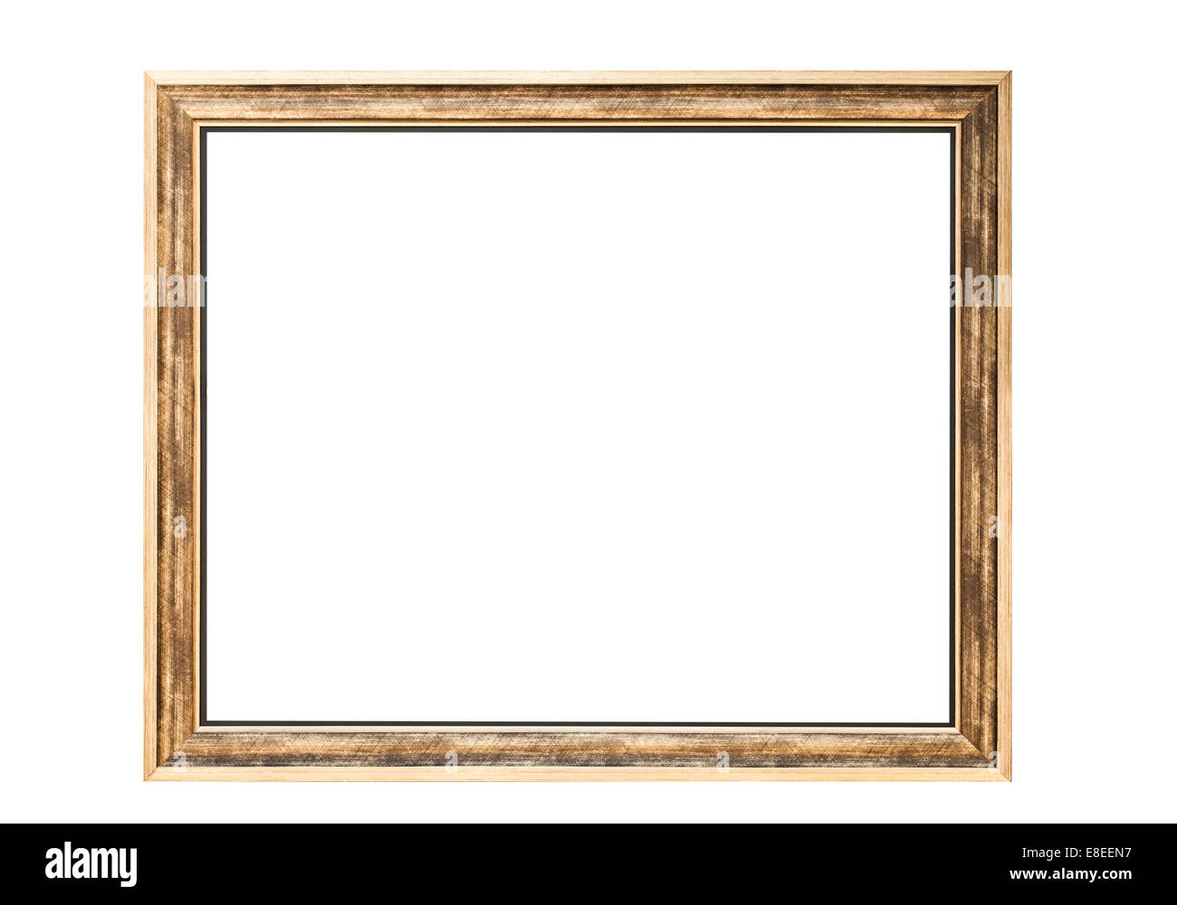High Resolution Empty Golden Rectangle Frame Isolated on White Stock ...