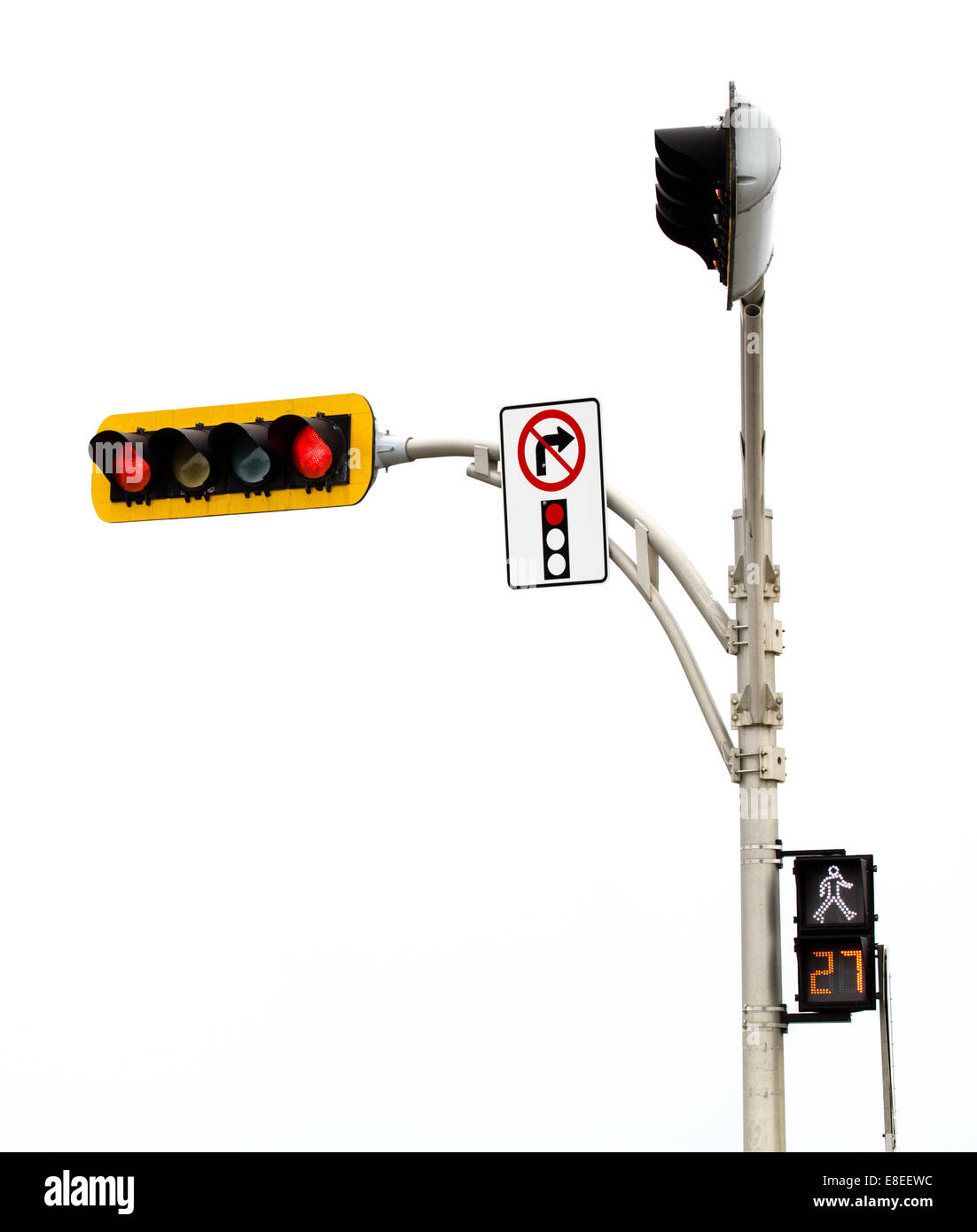 No Right Turn on red Light Intersection Isolated On White Background Stock Photo