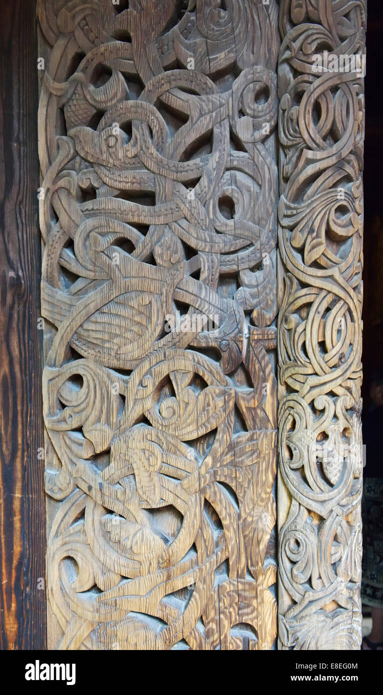 Carved wooden pillar, Gol Stavkirka c.1200, Folk/Cultural History Museum, Oslo, Norway 140820_62543 - Stock Image
