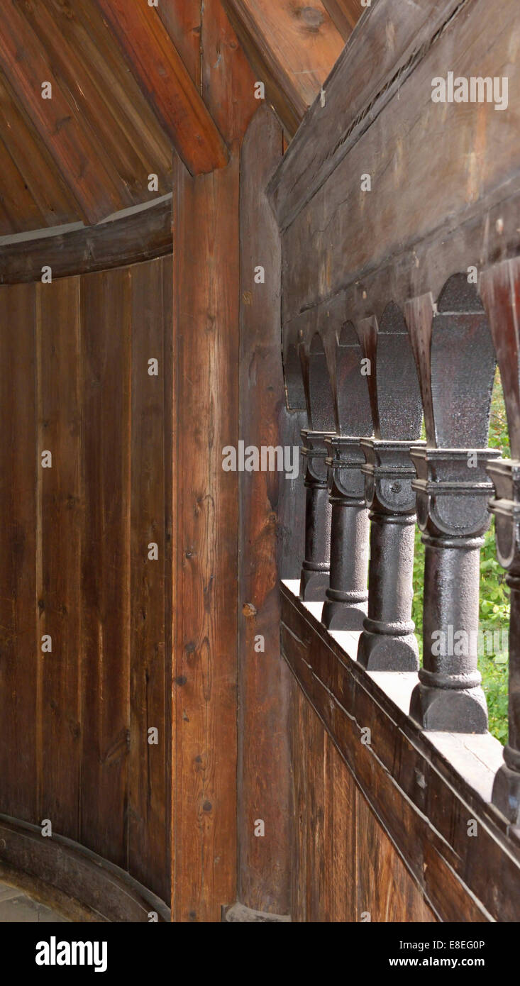 Hall way, Gol Stavkirka c.1200, Folk/Cultural History Museum, Oslo, Norway 140820_62547 - Stock Image
