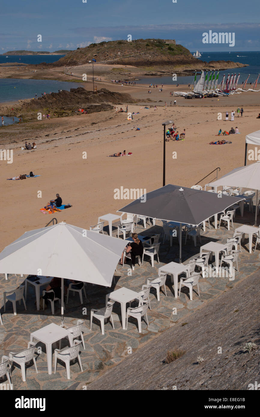 Cafe on the beach, St Malo, Britanny France - Stock Image