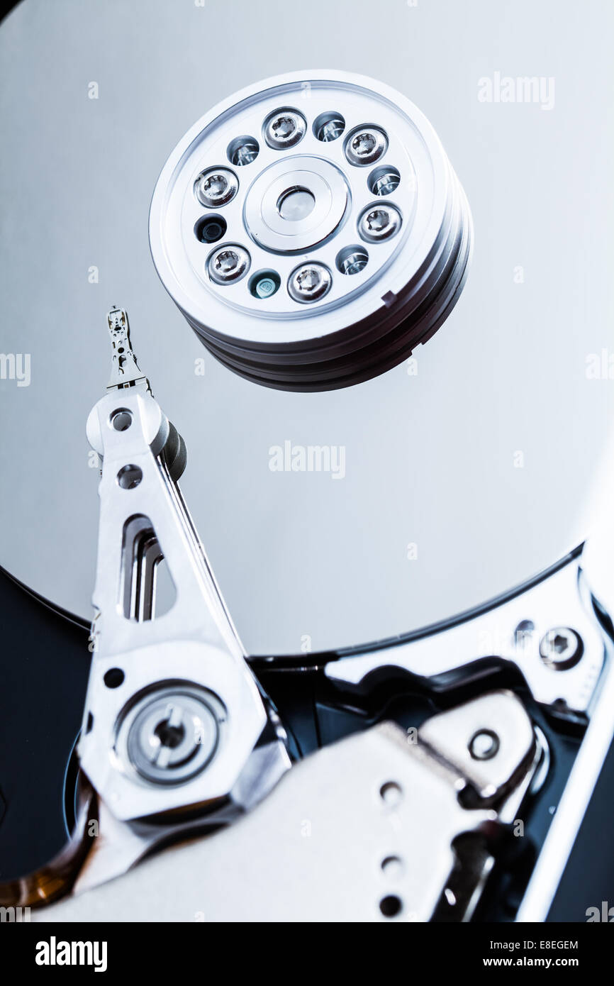 Hard Drive Mechanism and Details of the Platters, Arm and Spindle. - Stock Image