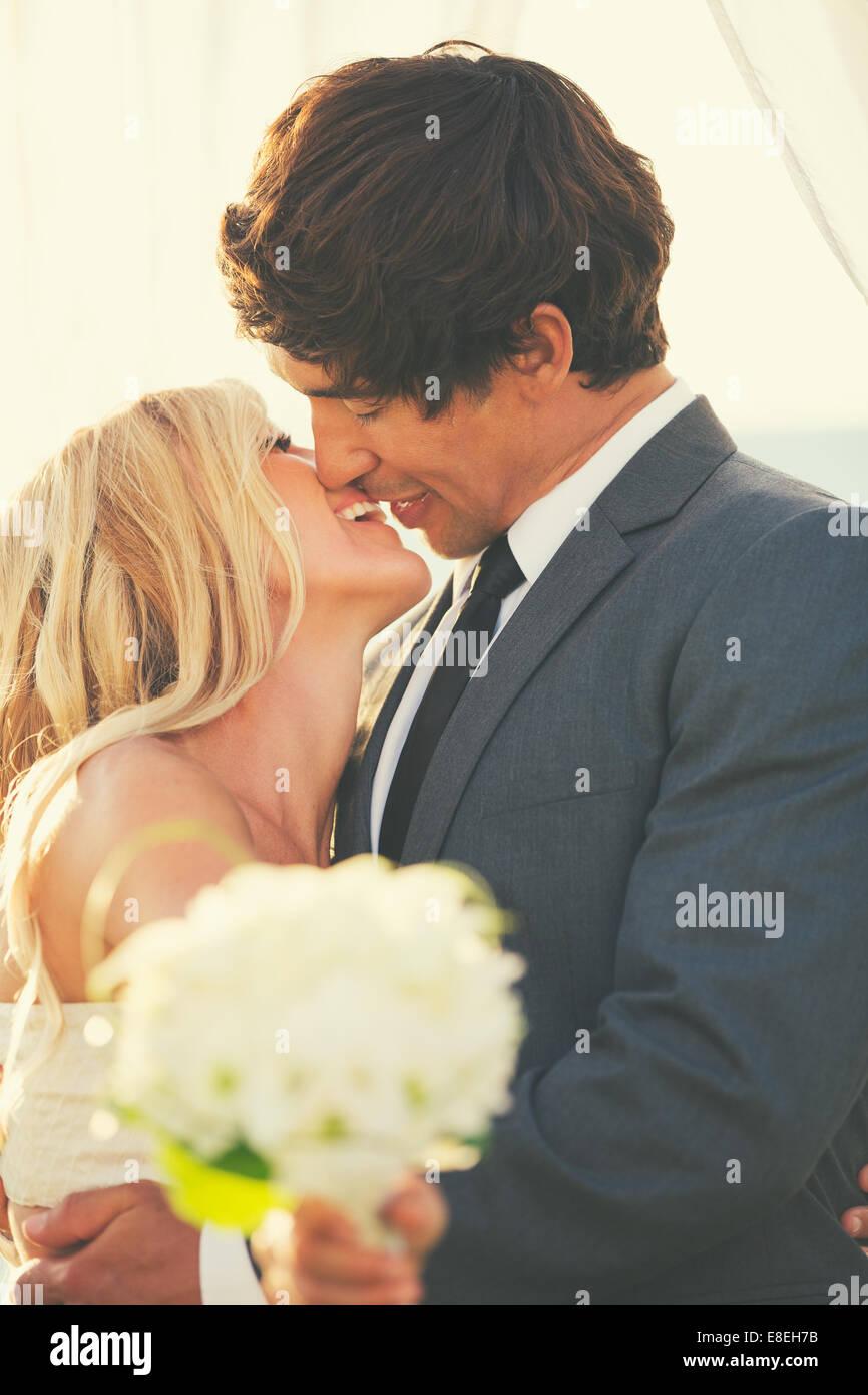 Romantic Beautiful Wedding Couple Stock Photo Alamy