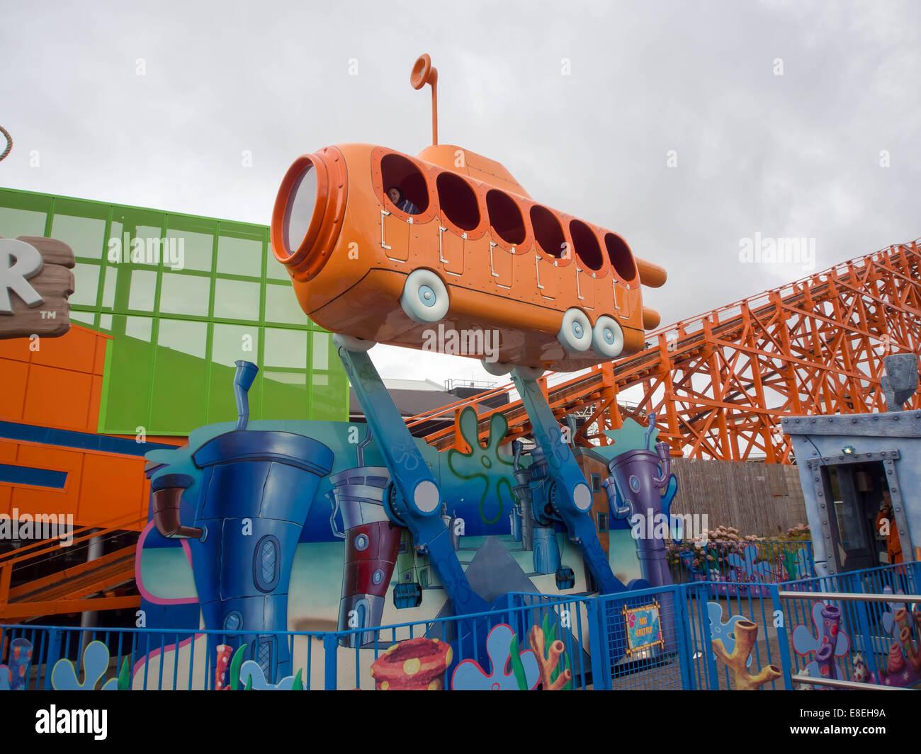The Bikini Bottom Bus Tour ride at Blackpool Pleasure Beach, Lancashire, England - Stock Image