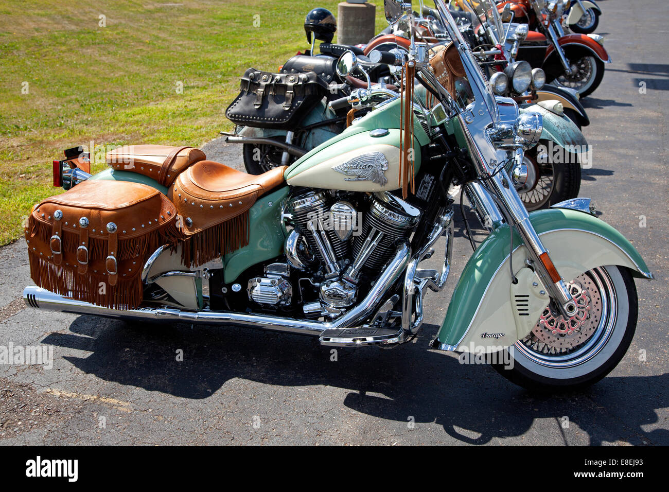 Indian Motorcycles at the Twin Cities dealership offering free rides to introduce the 2014 line. St Paul Minnesota - Stock Image