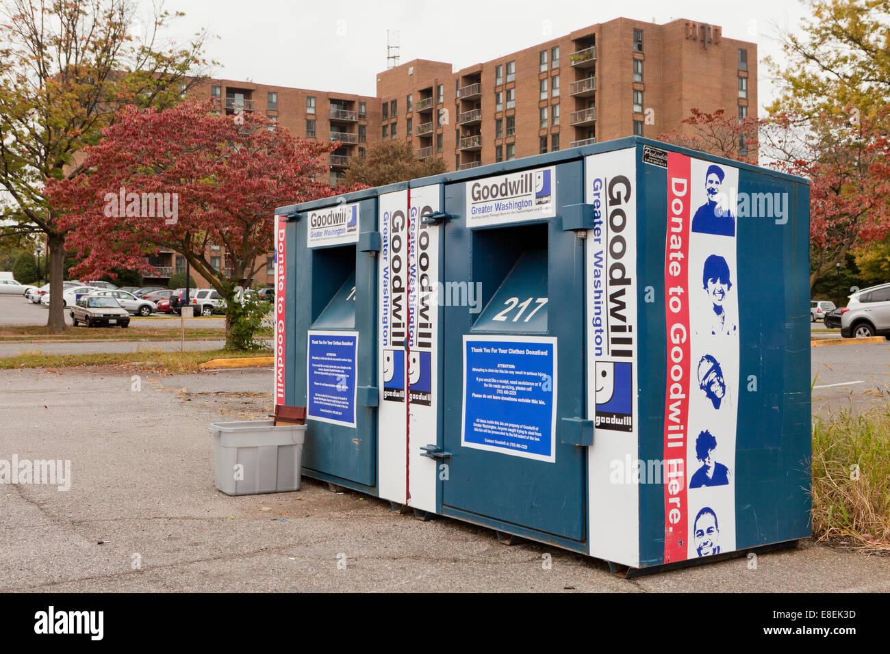 Goodwill used clothing bins - Virginia USA - Stock Image