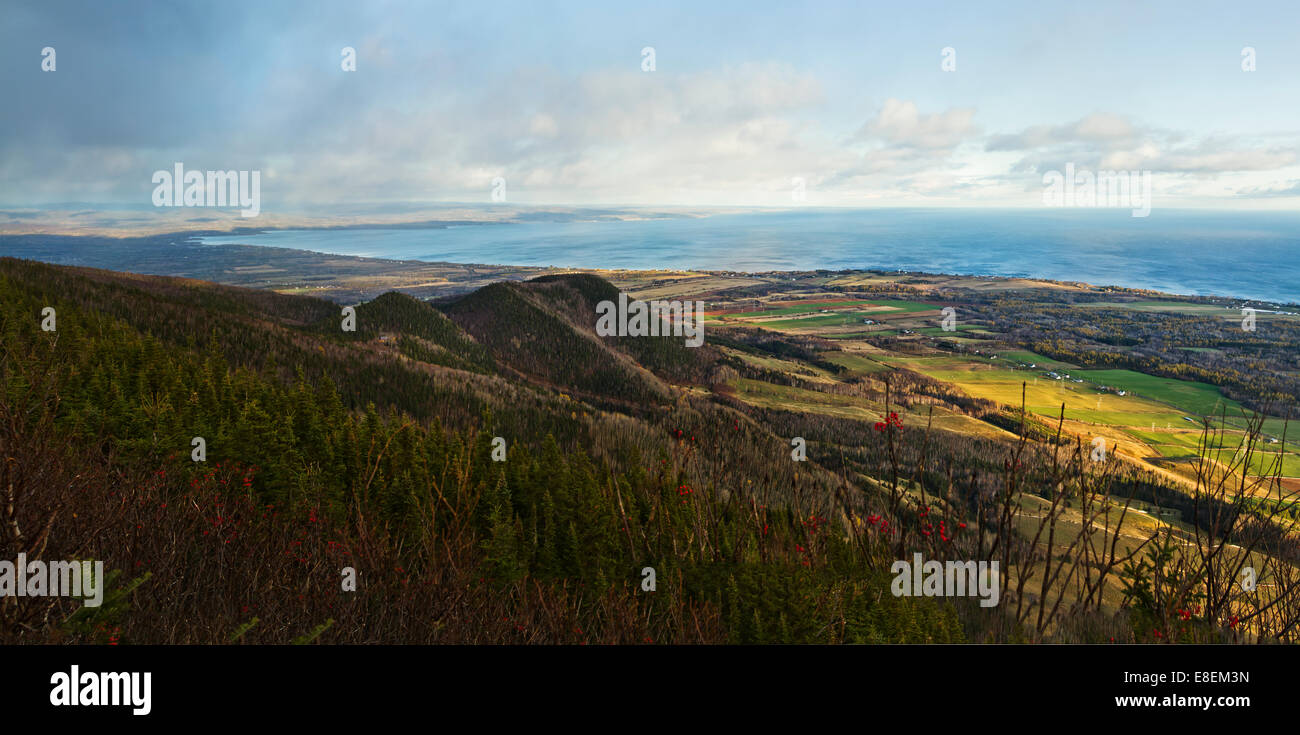 Top mountain Panorama - Gaspe Peninsula - Stock Image