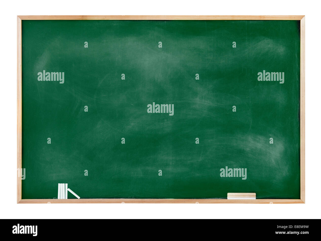 Textured Blackboard with Chalks and Eraser - Stock Image