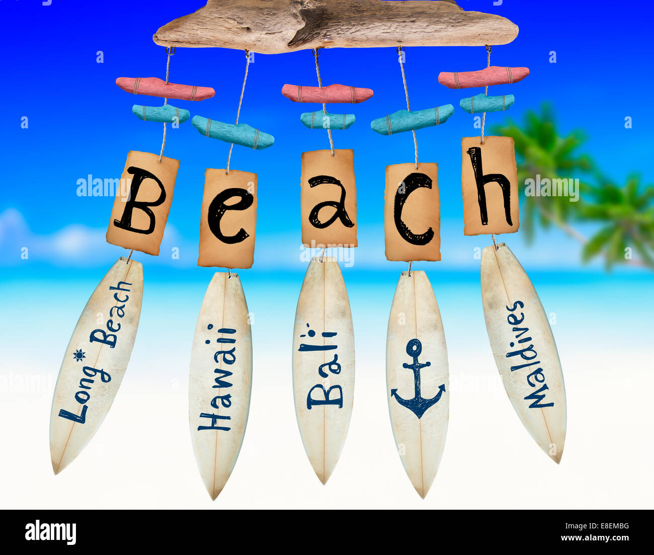 Beach Wind Chime on Beach background Stock Photo