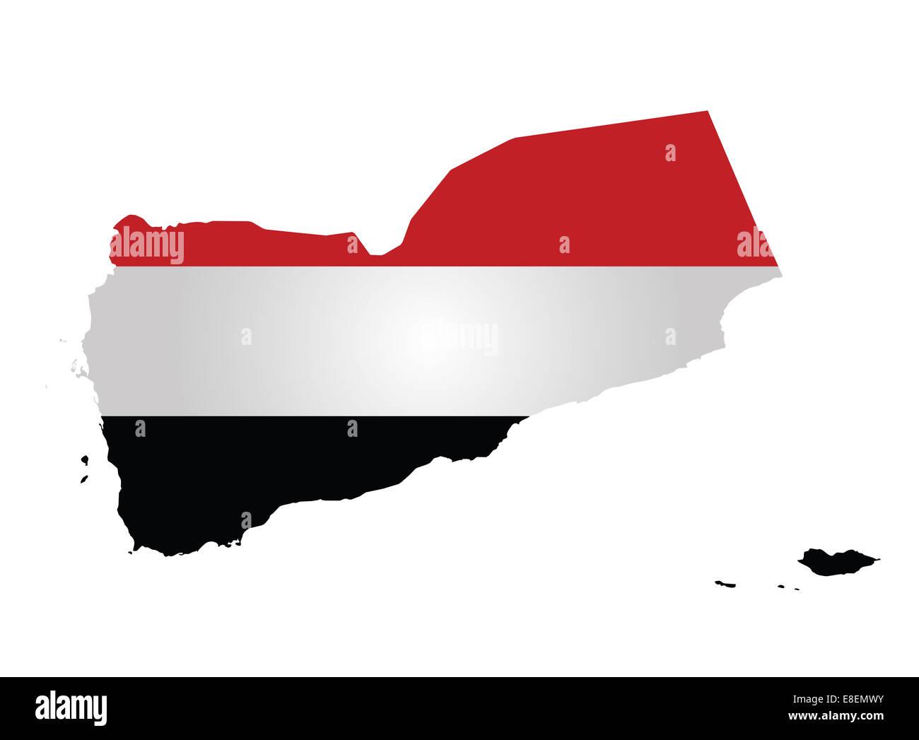 Flag of the Republic of Yemen - Stock Image