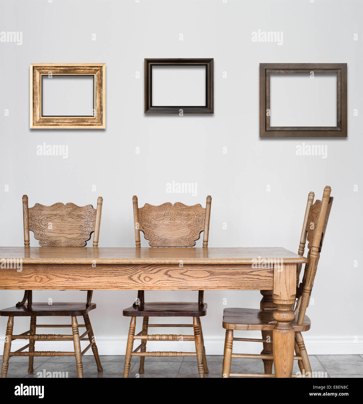 Wooden Dining room table and chair details and blank frames for your ...