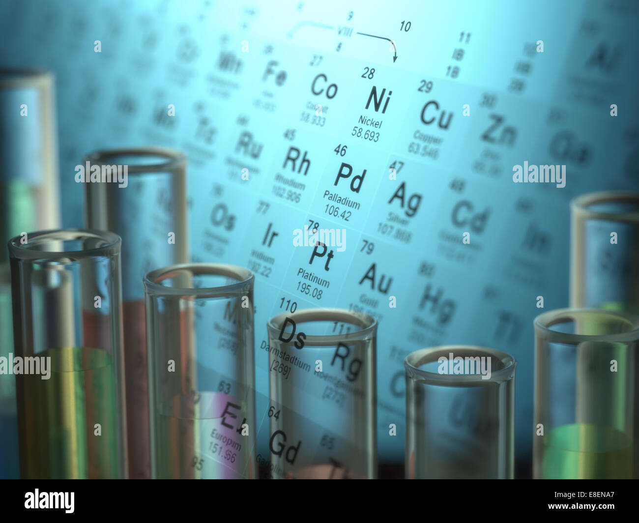 Test tubes with chemical elements inside and periodic table on stock test tubes with chemical elements inside and periodic table on background urtaz Images