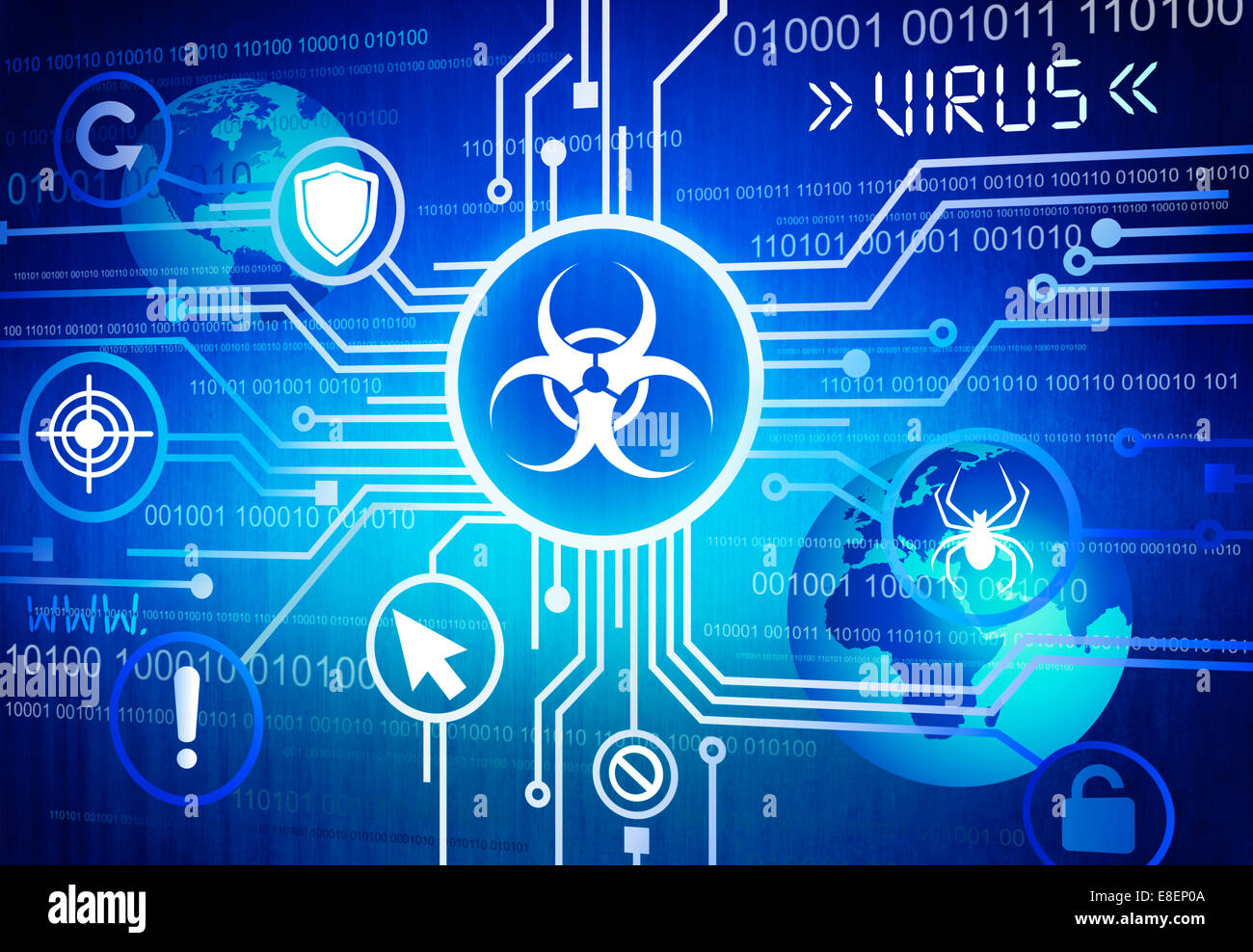 Digitally Generated Image of Online Virus Concept - Stock Image