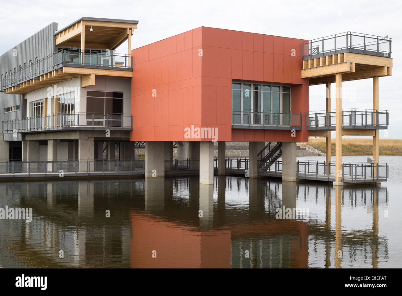 The Environmental Education and Ethics Centre, a LEED Gold Standard building with water treatment wetland in Ralph Stock Photo