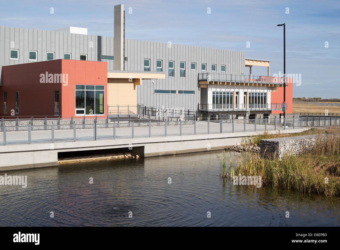 The Environmental Education and Ethics Centre, a LEED Gold Standard building with water treatment wetland in Ralph - Stock Image
