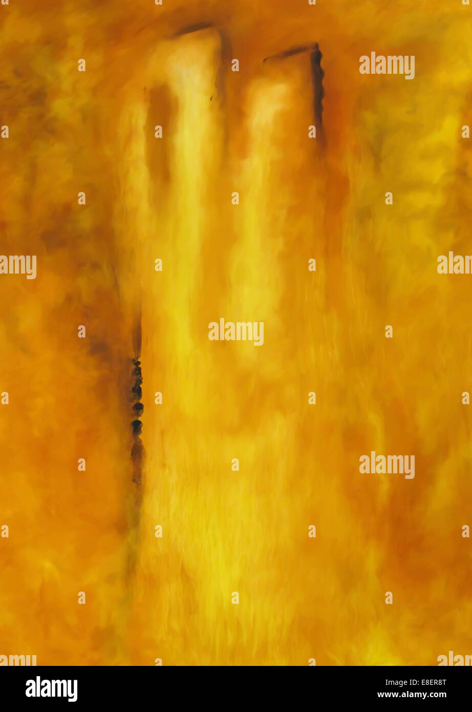 Yellow rectangles abstract. Abstract organic yellow painting background texture - Stock Image